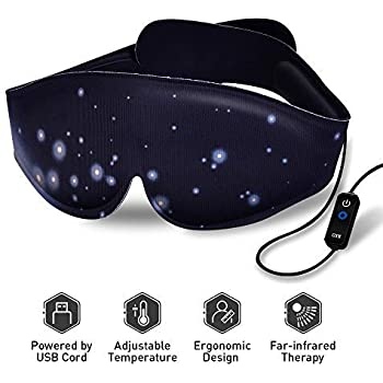 Heated Eye Mask - USB Dry Eye Mask, Electric Heating Eye Mask, Far-Infrared Therapy, Adjustable Temperature, Sleeping Heated Eye Mask, Sleep Mask to Relieve Dry Puffy Eyes