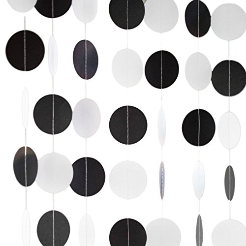 Bobee Black Party Decorations, Paper Garlands, 58 dots, 14 feet