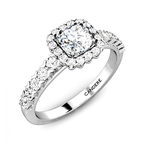 0.69 Carat (2/3 ctw) Round Cut Diamond Classic Solitaire Halo Engagement Ring with Side Stones in 925 Sterling Silver