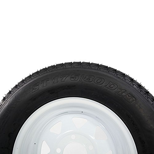 Bias ST175/80d13 trailer tire and wheel 13'' White Spoke Trailer Wheel (5x4.5) bolt circle Pack of 2 by Motorhot (Image #5)
