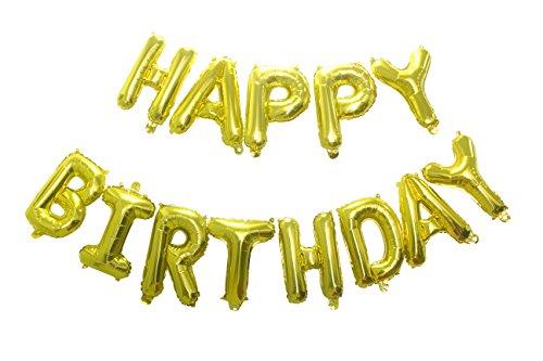 Ptime Metallic Gold Birthday Balloons Banner Kit, Big 16
