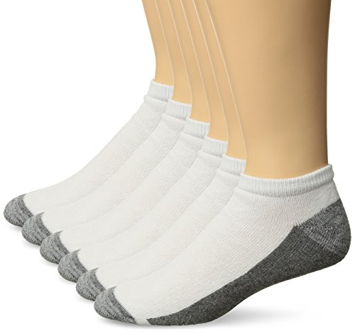 Cushion Low Cut Socks - Hanes Men's ComfortBlend Max Cushion 6-Pack White Low Cut Socks, Shoe Size: 6-12