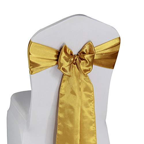 (Gold Satin Chair Sashes Ties - 50 pcs Wedding Banquet Party Event Decoration Chair Bows (Gold, 50))