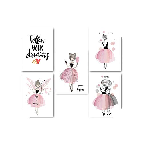 (Lucky-fairy-Decorative paintings Watercolor Kawaii Cartoon Girl Posters and Prints Wall Art Canvas Painting Nordic Style Picture for Living Room Home Decor,50X70Cm No Frame,5 Pcs Set )