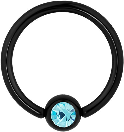 Rings Cbr - 14g 1/2 Inch Surgical Steel Black IP Plated with Aqua Crystal Captive Bead CBR Hoop Ring