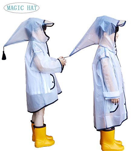 QHUMO Reusable Portable Kids Rain Poncho, Lightweight Boy and Girl Raincoat with Elf Hooded and Sleeves for Theme Parks, Travel and Outdoor Activities L by QHUMO
