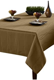 Benson Mills Gourmet Spillproof Fabric Tablecloth, Linen, 60 Inch By 84 Inch