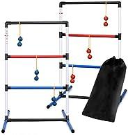 DORTALA Upgraded Ladder Ball Toss Game Set, Indoor Outdoor Ladder Ball Toss Game Set with 6 PE Bolas & Car