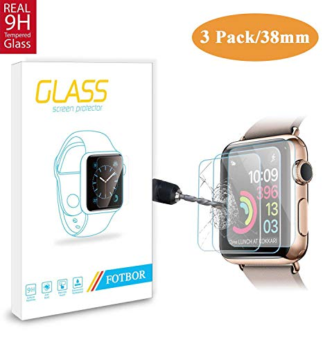 [3 Pack] Fotbor for Apple Watch Screen Protector 38mm Series 3/2/ 1, HD Clear Anti-Scratch Anti-Bubble Tempered Glass Screen Protector Lifetime Replacement Warranty [Only Covers The Flat Area] (38mm)