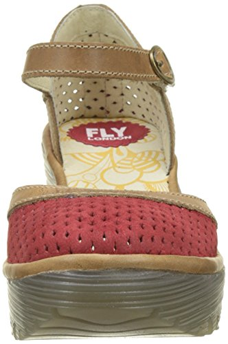 Fly London Women's Yupi840fly Closed Toe Heels Red (Lipstick Red/Camel)