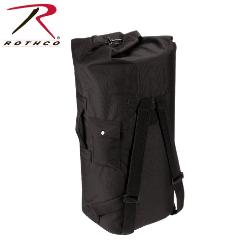 Rothco Gi Type Double Strap Duffle Bag, Black 24' Gear Duffel Bag