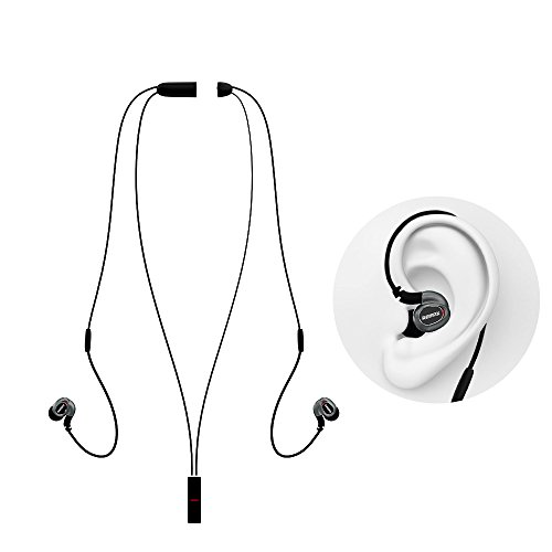 Remax - RB-S8 Magnetic Necklace Style Bluetooth 4.1 Wireless Stereo Headphones / Earphones / Headsets for Running Jogging Sports Lovers - Sweatproof, Noise Cancelling, Ergonomic Earbuds (Black)