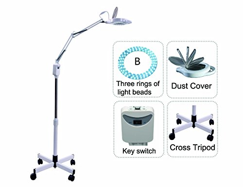 Led Cold Light Magnifying Lamp 5 Times Magnification Movable Cross Tripod Beauty Lamp For Facial Care Tattoo Or Reading Elitzia ETH3027 (White 3 Rings Lamp Beads)