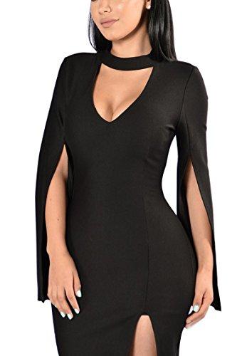 BLAU GRUN Women's Elegant Sexy V-Neck Cocktail Stylish Fashion Midi Dress Black L