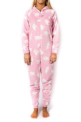 Womens Pink Fleece Polar Bear Onesie (Small)