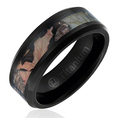 8MM Comfort Fit Titanium Hunting Ring | Black Plated Wedding Band with Camouflage Inlay | Beveled Edges [Size 10.5] - Edge Titanium Ring