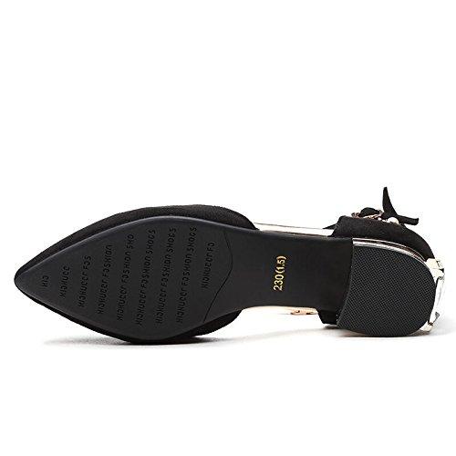 Des Unique Relevé Au Pris Nouveau À Chaussures Un Souliers Doucement Mot Chaussures Talons black Printemps De Professionnelles Milieu Chef KHSKX w7fq800
