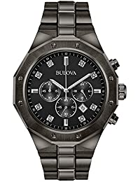 Men's Analog-Quartz Watch with Stainless-Steel Strap, Grey, 24 (Model: 98D142)