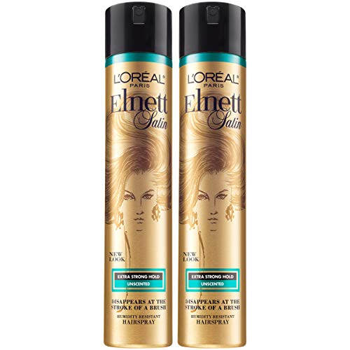 L'Oreal Paris Hair Care Elnett Satin Extra Strong Hold Hairspray - Unscented, Long Lasting + Humidity Resistant, Hair Styling Spray, 11 oz, (Pack of 2)