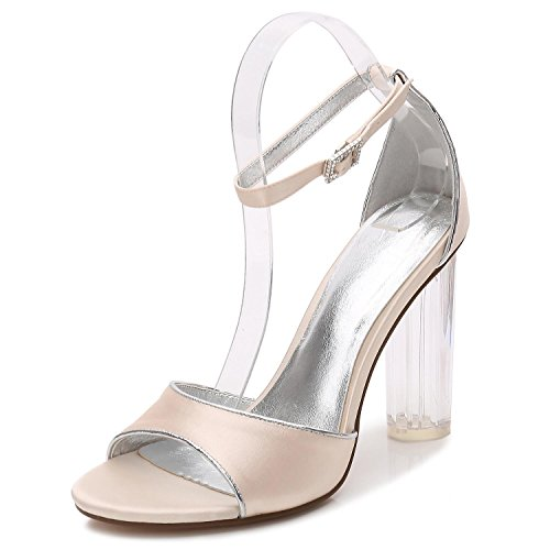 de high Tamaño Seda Bombas Altos Mujer Tacones Champagne Elegant de de Boda del Zapatos F2615 Cristal Partido 8 shoes de Para de dqxqUROw6