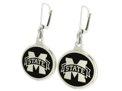 Sterling Silver Msu Bulldogs Charm (Mississippi State University Bulldogs Enamel Leverback Earrings. Solid Sterling Silver with Enamel)