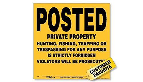 Voss Signs Yellow Aluminum Posted Private Property Signs (100 pack) by Voss Signs®