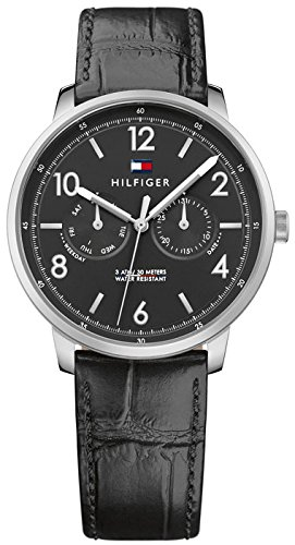 Tommy Hilfiger Men's 'Sophisticated Sport' Quartz Stainless Steel and Leather Casual Watch, Color:Black (Model: 1791356)
