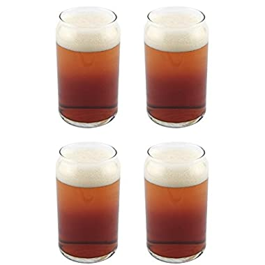 Libbey Can Shaped Beer Glass - 16 oz - 4 PACK w/ Pourer