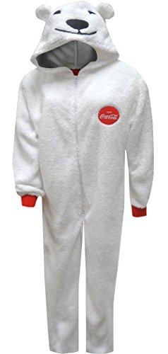 Coca-Cola Coke Polar Bear Onesie Hooded Pajama for men (Medium)