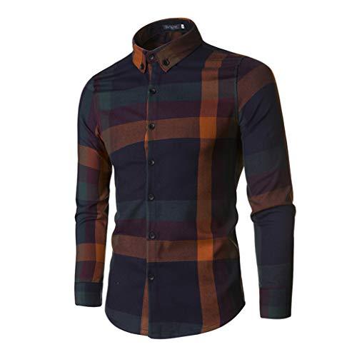 XXJIN Shirt for Men Fashion Big Plaid Shirt Slim Men's Corduroy Long-Sleeved Shirt(Orange,L)