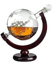 Karafka do whisky w kształcie globusa: grawerowana szklana karafka z żaglówką wewnątrz i mapa świata – butelka dekanter 850 ml – prezent dla mężczyzn z grawerunkiem