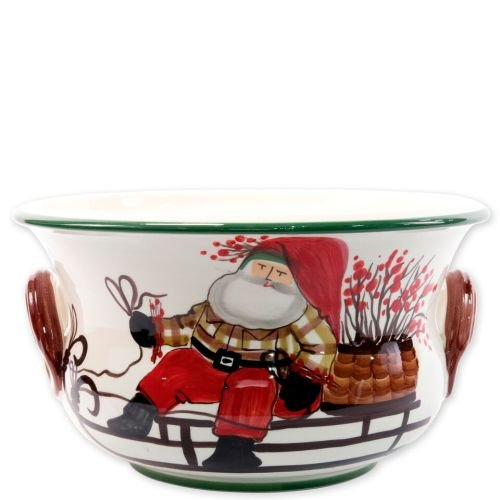 (Vietri Old St. Nick Footed Round Cachepot, Ceramic Stoneware Handpainted w/Santa On His Sleigh)