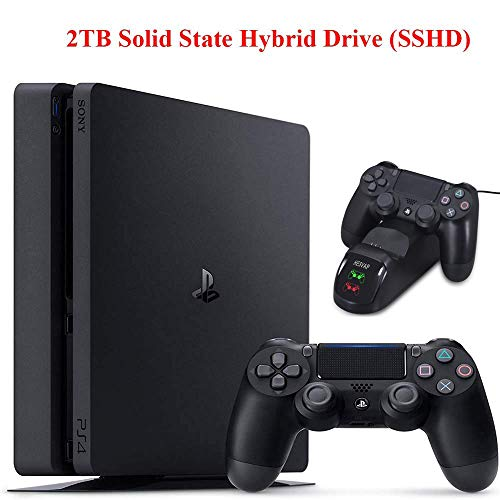 2019 Newest Playstation 4 Holiday Bundle HESVAP Upgraded 2TB SSHD Only on Playstation PS4 Console Slim Bundle with HESVAP DualShock 4 Controller USB Charging Station Dock-Jet Black