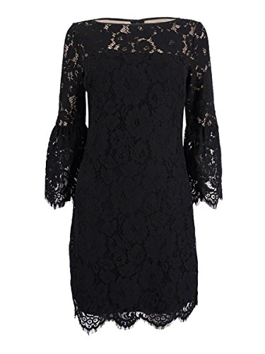 Lauren Ralph Lauren Women's Scalloped Floral Lace Dress (6, Black) (Lace Spring Lauren Ralph)