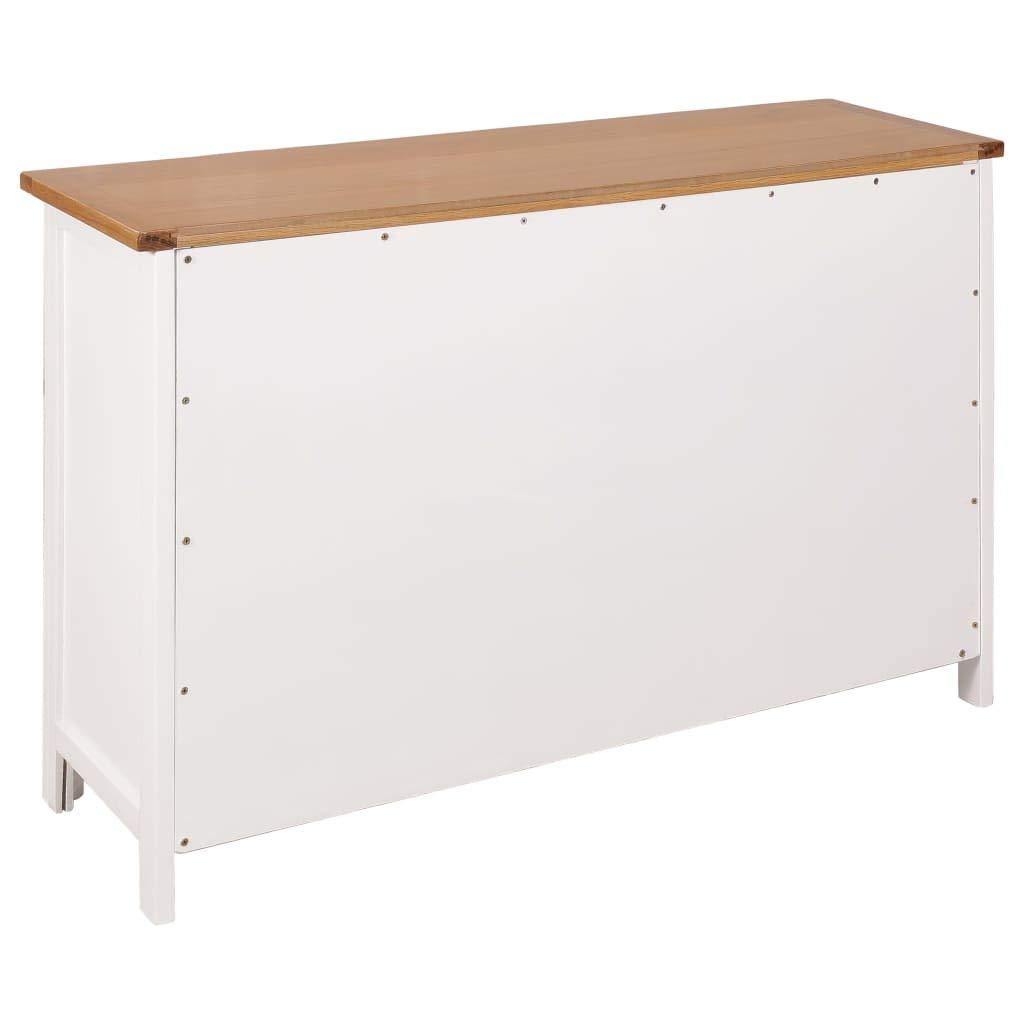 Festnight Commode Meuble de Rangement avec 3 tiroirs Buffet Bois Armoire Rangement 110 x 33,5 x 70 cm Marron et Blanc
