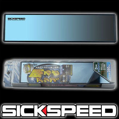 Black/Blue Panorama Hd Series Clip On Flat Glass Rear View Mirror 280Mm Wide for Nissan 370Z