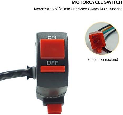 Motos 7//822 mm Motocicleta Manillar Interruptor de control Encendido Arranque apagado Interruptor ON-OFF para Honda Kawasaki Cambiar Color : Negro