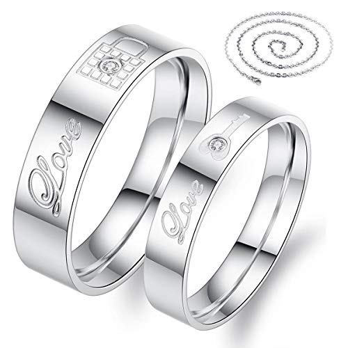 Fate Love Jewelry 2pcs Stainless Steel Promise Rings for Couple with Lock and Key Pattern Silver(pack in Box) (Silver Best Couple Rings)