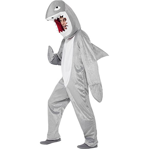 Smiffy's Adult Unisex Shark Costume, Bodysuit and Hood, Party Animals, Serious Fun, One Size, 43815