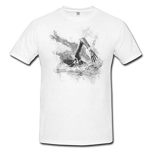 Schwimmen III T-Shirt Herren, weiß mit Aufdruck