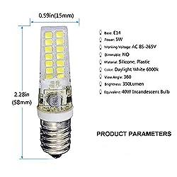 MD Lighting 5W E14 Mini LED Light Bulbs 6 Pack 28 LEDs 2835 SMD 350 Lumen 40W Incandescent Bulb Equivalent Daylight White 6000K for Refrigerator Kitchen Europe Lamp, Not Dimmable, AC 85-265V