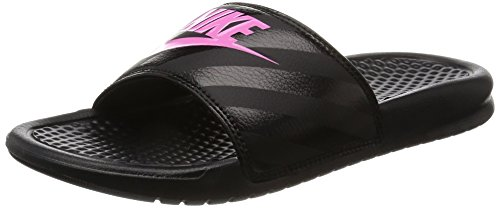NIKE Women's Women's Benassi Just Do It Athletic Shoe, black/vivid pink - black, 7 Regular US