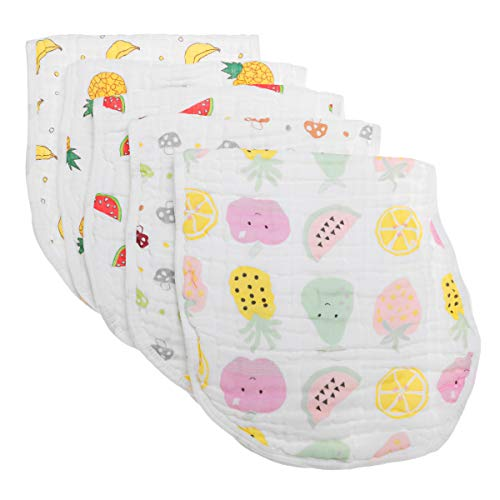 Muslin Burp Cloths Baby Burping Bibs 100% Organic Cotton 5-Pack Large 6 Layers Thick Soft Absorbent Cloth Spit Up Dribble Towels Rags for Newborns & Babies Shower Gift by ShoppeWatch -