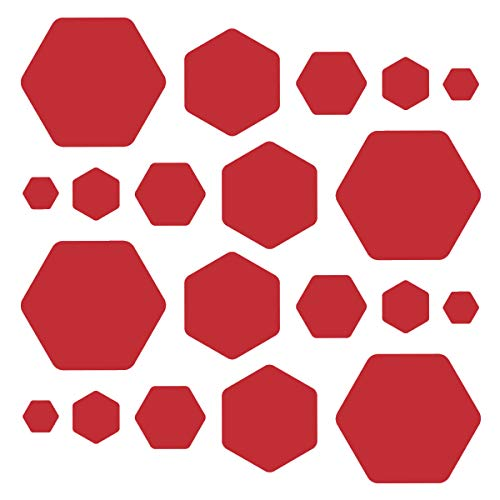 Hexagon/Honeycomb Wall Decals - Assorted Sizes Vinyl Stickers - Removable Adhesive - Peel and Stick (30, Red) ()