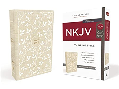 NKJV, Thinline Bible, Cloth over Board, White/Tan, Red Letter