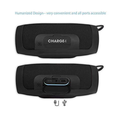 Pushingbest Silicone Case for JBL Charge 4 Portable Waterproof Wireless Bluetooth Speaker (Black)