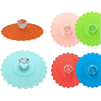 Akak Store 6 PCS New Cute Anti-dust Silicone Glass Cup Cover Coffee Mug Suction Seal Lid Cap