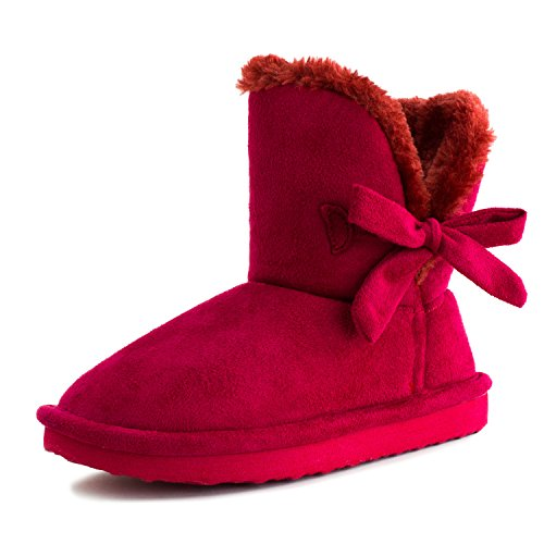 Mini Womens Flat Ribbon Winter Fur Ankle Short Fux Suede Boots (8, Red) (Red Flat Boots)