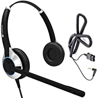 Deluxe Double Ear Noise Canceling Call Center / Office Headset with 2.5mm adapter cable for Cisco SPA: 303, 501G, 502G, 504G, 508G, 509G, 525G 512G, 514G,525G2
