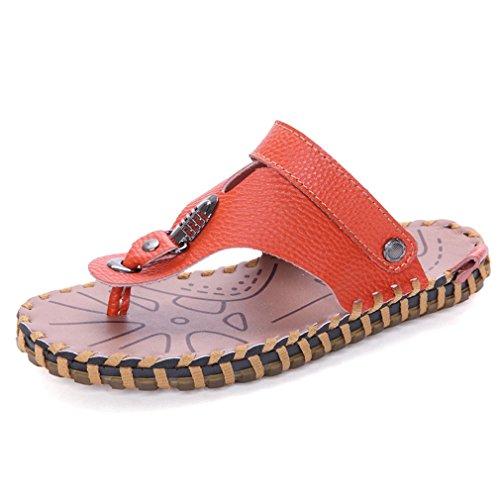 Infradito Uomo Infradito Sandali Infradito Comode Pantofole Da Spiaggia In Pelle Estiva Arancione